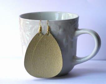 Gold Saffiano  Leather Teardrop Drop Earrings