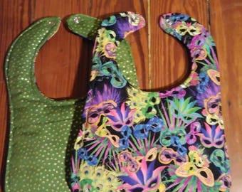 Mardi Gras Mask Bib-Reversible
