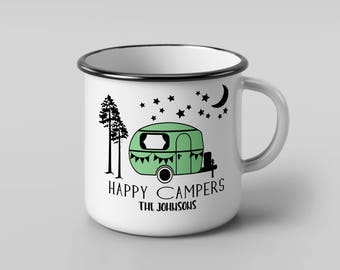 Happy Camper Mug, Gift for Couple, Customized Mug, Campfire Mug, Camping Gift, Glamping Mug, Rv Mug Gift, Camping Family Gift, Camping Mug