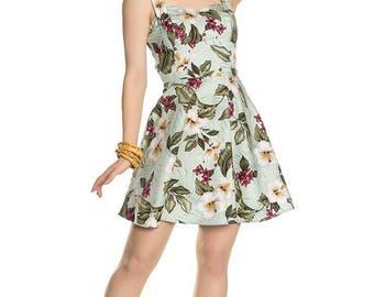 Brand New Pretty Retro Inspired Hibiscus Floral Mini Swing Dress