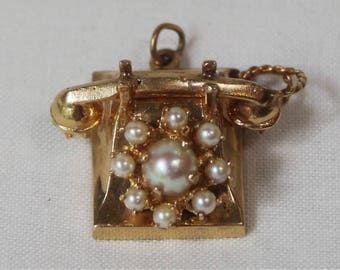 Vintage 14K Gold and Pearl Old Telephone Charm or Pendant.