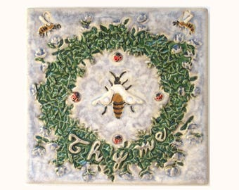 Thyme and Honey Bee 6x6 Arts and Crafts Framed MUD Pi Decorative Handmade Ceramic Tile
