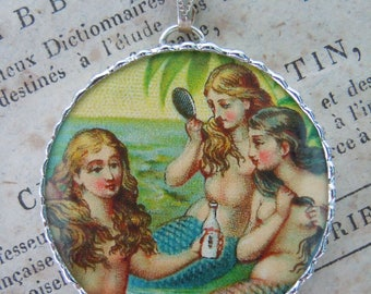 Fiona & The Fig - Double Sided - Mermaid - Antique Lace - Charm -  Necklace - Pendant - Jewelry
