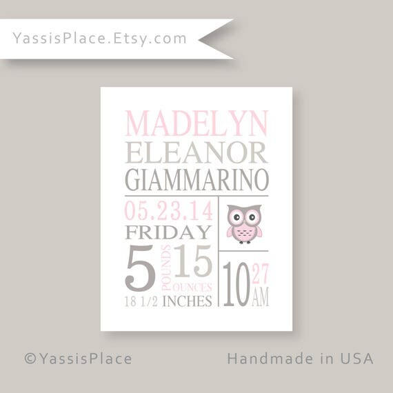 Personalized baby gifts pink gray owl nursery wall decor for like this item negle Image collections