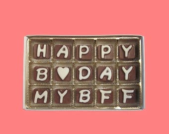 ship AFTER 8/7 Birthday Gift BFF Best Friend Women Gift Her Him Happy B Day My Bff Cubic Chocolate Letters Fun Ak Apo Canada International S