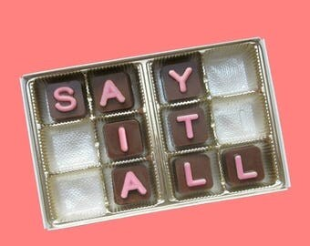 ship AFTER 8/7 Personalized Womens Gift for Girlfriend Customized Gifts for Her Anniversary Gift Romantic 12 pc Chocolate Cube PINK STRAWBER