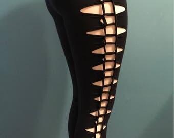 Braided Black Leggings - Cotton Jersey Knit Braided Stretchy Festival Club Wear
