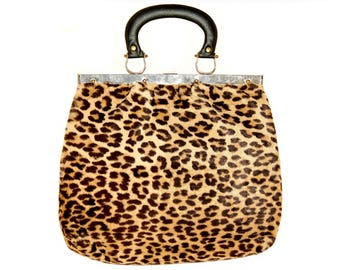 Vintage Leopard Handbag, Faux Fur, Substantial Size, Late 1950s to Early 1960s
