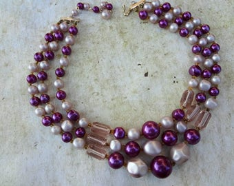 Shades of Purple Rescued Bib Necklace for Re-Design / Vintage / DIY Beads / Re-purpose Beads / Needs Re-strung (B4)