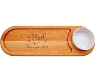 Handcrafted Christmas Dip and Serve Board, Hostess Gift, Gourmet Gift, Wooden Dipping Board, Gift for women, Engraved Gift