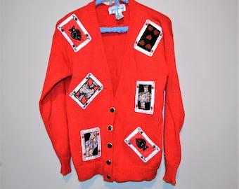 Vintage Cards on Red Novelty Cardigan