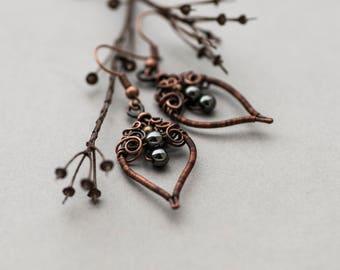 Hematite Woodland Earrings, Rustic Boho Black Grey Earrings, Bohemian Copper Jewelry, Elvish Style Earrings