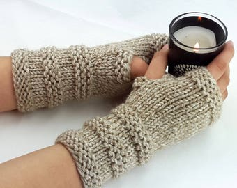 Fingerless gloves -Chunky Arm warmers - Womens Fingerless -  Wrist warmers - Hand warmers -Beanie Set|