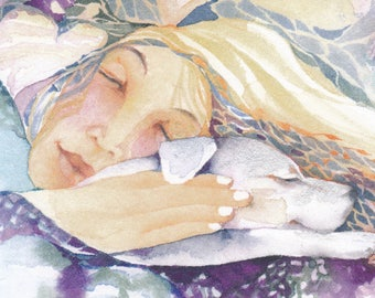 DREAM white dog watercolor greeting card - mystical healing rainbow bridge 'Mirabai in my Dreams'