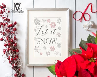 Let It Snow Wall Art; Christmas Wall Art; Snowflake Wall Art