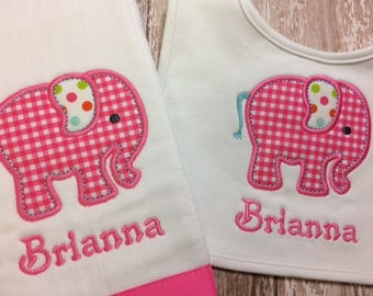Elephant Monogrammed Bib, Burp Cloth, Baby Boy or Girl with Custom Personalization