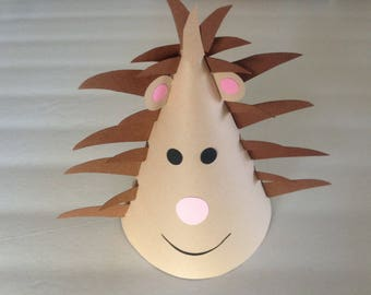 HEDGEHOG Birthday Party Hats (Set of 6) -- When only a hedgehog will do!