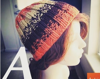 A or B Gender Neutral Variegated Hat, hand knit