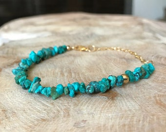 Genuine Turquoise Bracelet in Gold or Silver, Turquoise Bracelet in Gold or Silver, Gold or Silver Turquoise Bracelet, Turquoise Bracelet