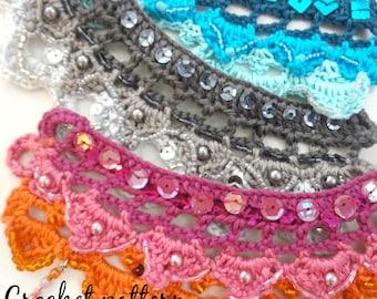 DIGITAL CROCHET PATTERN Mardi Gras bohemian cuff,crochet bohemian cuff,ethnic, gypsy jewelry,boho cuff,crochet cuff