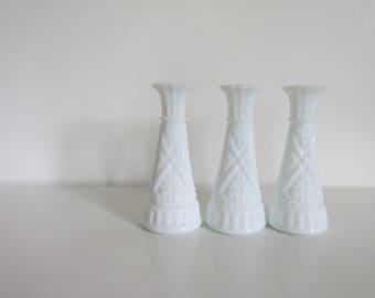 Milk Glass Vases, a set of 3