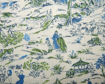 vintage fabric blue green small Asian print Mid Century rayon cotton blend Sovereign Textiles Ltd 1 yd and 29 inches long novelty print