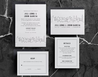 Las Vegas Wedding Invitations, Skyline Invitation, San Francisco, Oakland, Dallas, Houston, Philadelphia, Chicago, Wedding Invite, SAMPLE