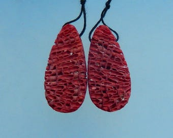 Nugget Red Coral Earring Beads,34x16x7mm,3.8g