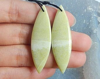 Serpentine Gemstone Earring Bead,44x13x4mm,7.0g(E142)