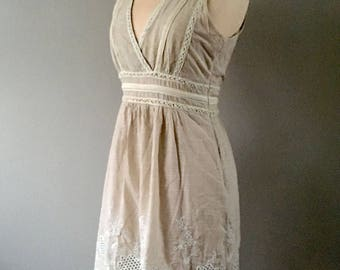 Embroidered Cotton Dress, Lace Dress, Embroidered Dress, Cotton  Dress Size 4