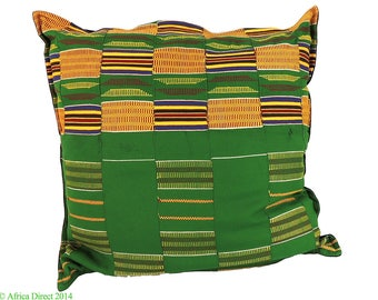 Kente Cloth Pillow Green 22 x 22 inch African Art 91642