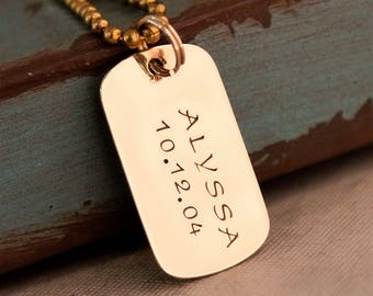 Father's Day Gift / Hand Stamped Copper Dog Tags / Personalized Jewelry for Him / Brass Dog Name Tag with kids name and date