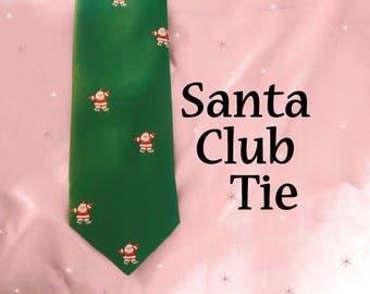 Holiday Tie for CIJ is a Santa Club Necktie, Christmas Tie, A Tie with Santas, 80s Vintage Necktie by Paddle, Conservative Mid Width Tie