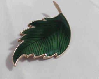 Vintage Green and Gold Enameled Leaf Brooch