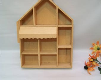 Craft supplies, Wood House to Paint, Wood Curio Box, Un-finished Wood House Shape Box, Un-finished Wood to Paint, Shadow Box, Wood Crafts