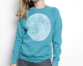 MOON midnight 90s SWEATSHIRT blue & white