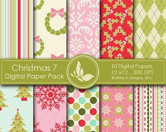 40% off Christmas 7 Paper Pack - 10 PrintableDigital papers - 12 x12 - 300 DPI ////// 7