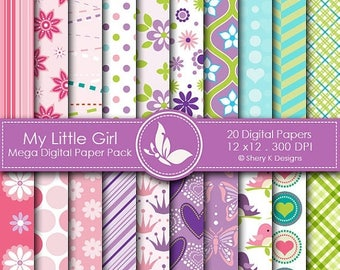40% off My Little Girl Paper Pack - 20 Printable Digital Scrapbooking papers - 12 x12 - 300 DPI