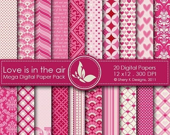 40% off Love is in the air Mega Paper Pack - 20 Printable Digital papers - 12 x12 - 300 DPI