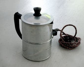 Rare collecting  French antique coffee pot in chromed metal and bakelite handle, art deco style , small kettle