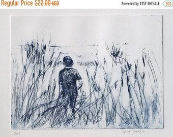Large Original Etching, in the Beach Grass, blue nature etching, landscape, portrait, illustration
