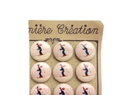 16 French Antique Skiers Painted Wooden Buttons, 22mm