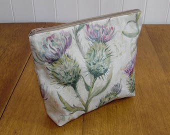Voyage Thistle Print Matt Finish Oilcloth Large Cosmetic Toiletry Bag