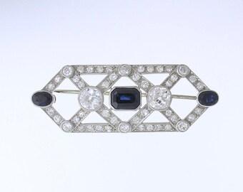 DIAMOND SAPPHIRE BROOCH~Art Deco Platinum Diamond & Sapphire Brooch, Circa 1920