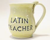 Personalized Mug, Wheel-thrown and Hand Stamped Stoneware Mug (MADE TO ORDER)