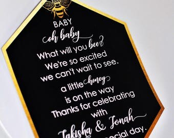 Hexagon Welcome Card, Bumble Bee/Queen Bee/Babee/What Will It Bee Gender Reveal/ First Birthday/Baby Shower Welcome Card/Menu/Invitation
