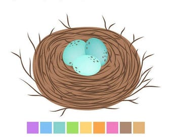 40% OFF SALE Birds Nest Clipart Brown, Easter Digital Clip Art, Eggs Clipart, Baby Shower Clipart, Instant Download, Commercial Use