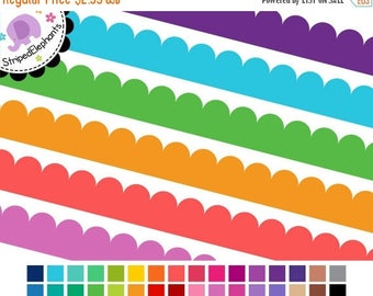 40% OFF SALE Digital Clipart - Scalloped Digital Ribbons - Instant Download - Commercial Use