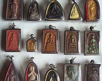 15 Thai Buddhist Buddha Buddhism Clay Amulet Medallions Charms Pendants Set Thai Amulet