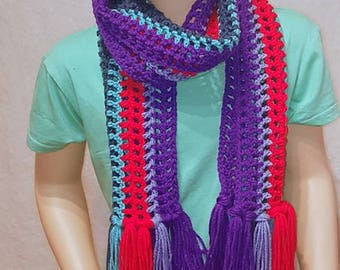 Purple Girls Scarf, Colorful Girls Scarf, Blue Scarf, Little Girls Scarf, Crochet Scarf for Girls, Red and Blue Scarf, Handmade Child Scarf